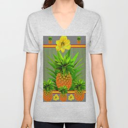 HAWAIIAN FLORAL GREY COLOR PINEAPPLE ART Unisex V-Neck