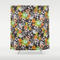 vintage floral Shower Curtains featuring Vintage Floral by Lydia Meiying