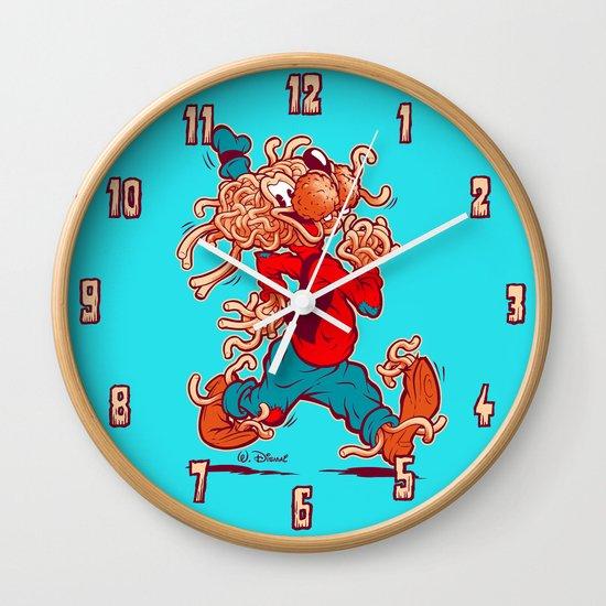 THE FLYING SPAGHOOFY MONSTER Wall Clock