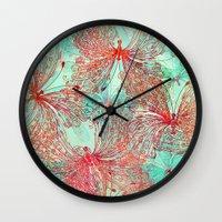 butterfly Wall Clocks featuring Butterfly Pattern by Klara Acel