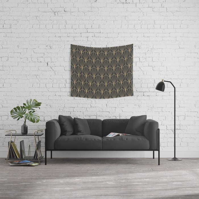 Art Deco Vector in Charcoal and Gold Wall Tapestry