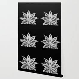 Gray Agave with Black Silver Glitter #2 #shiny #tropical #decor #art #society6 Wallpaper