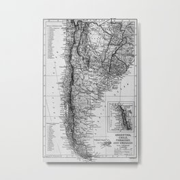 Vintage Map of Argentina (1911) Metal Print