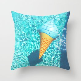blue ice cream cone float all up in my pool yo Throw Pillow