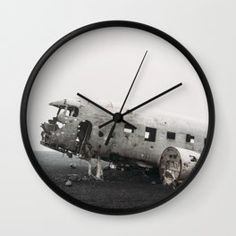 Plane wreck in Iceland photo. Travel photography Wall Clock