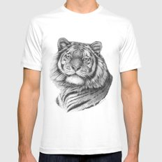Siberian Tiger G101 White MEDIUM Mens Fitted Tee