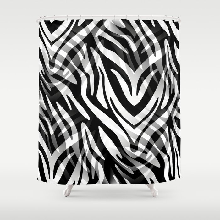 Lost In The Wilds Abstract Zebra Print Shower Curtain