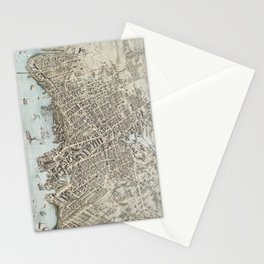Vintage Map of Fall River Massachusetts (1877) Stationery Cards