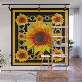 Italian Style Art Deco Golden Sunflower Art Wall Mural