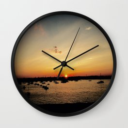 Marblehead Sunset with Boats Wall Clock