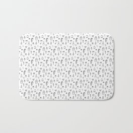 Cacti and Succulents Line Drawing Pattern Bath Mat