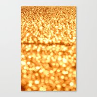 gold glitter Canvas Prints featuring Gold Glitter Sparkles by WhimsyRomance&Fun