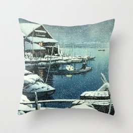 Kawase Hasui - Snow in Mukojima - Japanese Vintage Woodblock Painting Throw Pillow