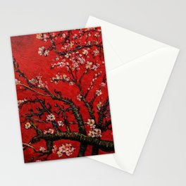 Almond Tree in Blossom - Red Motif by Vincent van Gogh Stationery Cards