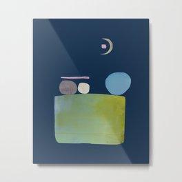 Abstract Geometric Modern Art Moon Gazers Metal Print