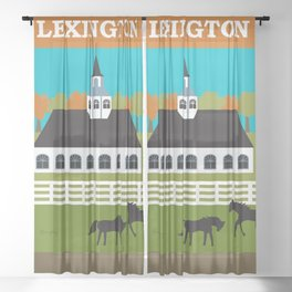 Lexington, Kentucky - Skyline Illustration by Loose Petals Sheer Curtain