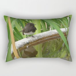 Black Phoebe at the Fountain Rectangular Pillow