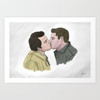 destiel Art Prints featuring Destiel by Percy