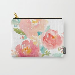 Watercolor Peony Bouquet Carry-All Pouch