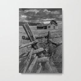 Grand Teton National Park Moulton Farm on Mormon Row in Black and White Metal Print