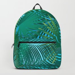 Tropical Palm Tree Leaves Branches on Blue Sky Summer Collection Backpack