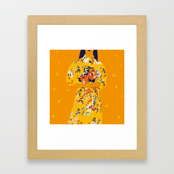 Kimono fleuri Framed Art Print