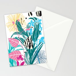 Stylized leaves and flowers Stationery Cards