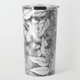 Autumn black white maple leaves bohemian floral pattern Travel Mug