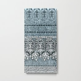 big paisley with floral monochrome Metal Print