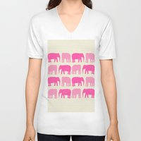 nursery V-neck T-shirts featuring Pink Elephant Nursery Print by OldRedCanoe
