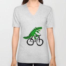 Funny Alligator Riding on Bicycle Original Artwork Unisex V-Neck