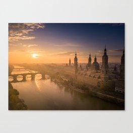 Sunrise by the Ebro. Canvas Print
