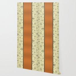 Mid Century Stripes & Starbursts (Orange) Wallpaper