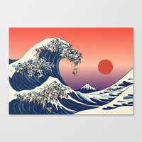 wave Canvas Prints featuring The Great Wave of Pug   by Huebucket