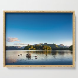Ducks on Lake Derewentwater near Keswick, England Serving Tray