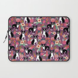 Boston Terrier floral black and white coat essential gifts for boston terriers owners florals Laptop Sleeve