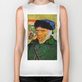 Van Gogh, Self-Portrait with Bandaged Ear and Pipe  – Van Gogh,Vincent Van Gogh,impressionist,post-i Biker Tank