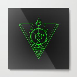 Abstract Geometry 5 - Green Metal Print