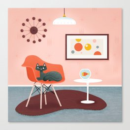 Midcentury Coral Decor With Black Cat And Gold Fish Canvas Print