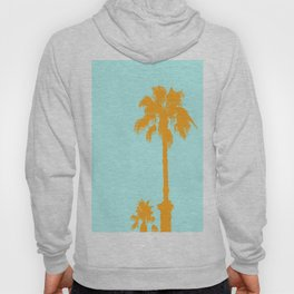 Orange palm trees silhouettes on blue Hoody