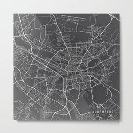 Nuremberg Map, Germany - Gray Metal Print