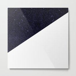 Modern Half Cut Starry Night and White Metal Print