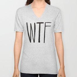WTF Black and White Typography Pattern Unisex V-Neck