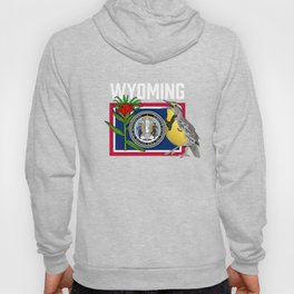 Wyoming US State Flag With State Bird And Flower Hoody