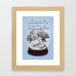 Blue Christmas Greeting Card Framed Art Print