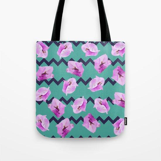 Floral Chevron Pattern Tote Bag