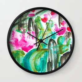 Pink Happy Plants Wall Clock