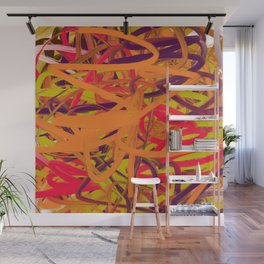 Orange Purple Green & Pink Abstract Wall Mural
