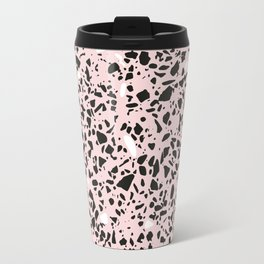'Speckle Party' Soft Pink Black White Dots Speckle Terrazzo Pattern Travel Mug