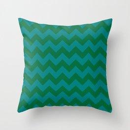 Teal Green and Cadmium Green Horizontal Zigzags Throw Pillow
